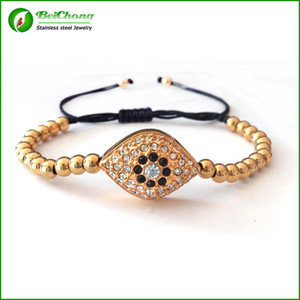 BC Anil Arjandas Armband 5mm Rose Gold überzogene Edelstahl Bead und 24 * 22mm CZ Evil Crystal Eye Armband Armreif BC-216