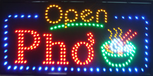 "32 ""x16""베트남어 PHO 쇠고기 누들 수프 Restuarant Open LED 매장 로그인 네온 포"