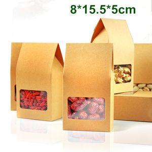 Commercio all'ingrosso 200 Pz / lotto 8 * 15.5 * 5 cm Kraft Paper Box Con Finestra Trasparente Regalo FAI DA TE Imballaggio Conservazione degli alimenti Confezione Oragan Bag Per Snack Cookies Nuts