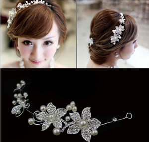 2014 new Hot Sell Luxury Silver Rhinestone Bridal Wedding Flower Pearls Headband Hair Clip Comb Women Jewelry Free Shipping