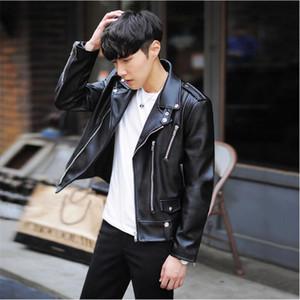 Nouveau Mode PU Veste En Cuir Printemps Marque Hommes Noir Solide Mens Manteaux Tendance Slim Fit Jeunesse Moto Veste