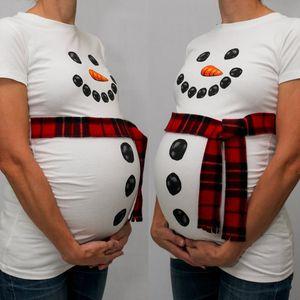 NOEL Yeni Yıl Trendy Hamile Kadın Noel Kardan Adam Baskılı Hamile Kıyafetleri Tops Kar Adam Beyaz T-shirt Gebelik Giyim (Yok eşarp)