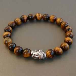 SN0241 Nova Mala Pulseira de ouro pulseira de prata de buda Stretchy Frisado Pulseira Homens Buda Olho de Tigre Pulseiras frete grátis