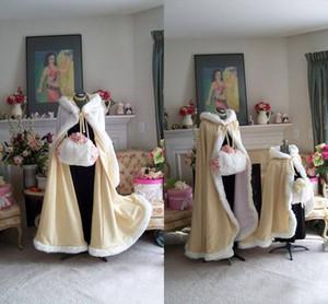 2018 Impressionante Até O Chão Champanhe Cor Nupcial Capes Casamentos De Casamento Faux Fur Perfeito Para O Casamento De Inverno Casacos De Noiva Capa De Casamento Do Cabo