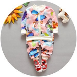 Spring Autumn Baby Boy Girl Outfits Set 2pcs Outfit Butterfly Zipper Jacket + Pants Children Outdoor Sport Set K6280