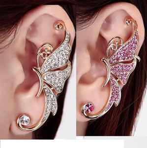 Cheio de brincos de diamantes brincos de borboleta elf Ear Cuff Não perfurado orelha clipe de orelha brincos pendurados moda jóias brincos ear cuff