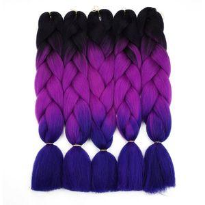 Ombre Örgü Saç Tığ Büküm Örgü Için 24 inç 100 / adet Yüksek sıcaklık tel sentetik Iki Ton afro Jumbo örgü saç
