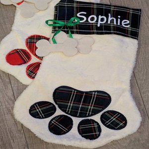 Nuevo diseño Sherpa Paw Stocking Dog and Cat Paw Stocking 2 colores Stock Christmas Gift Bags Decoración