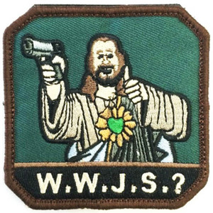 Funny God with Gun Hot W.W.J.S.? Embroidered Patch Iron on Patches MC Punk Custom Embroidery Patches for Jacket Free Shiiping