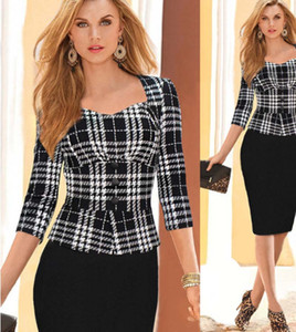 Frühling Herbst Frauen Arbeits-Kleider 3/4 Langarm-Plaid falsche zweiteilige Peplum OL zur Arbeit tragen 2020 Enges Kleid Partei ZJ1176