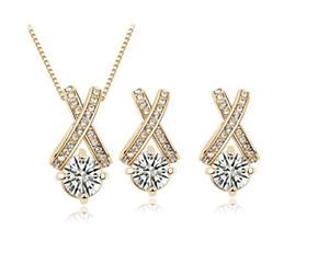 Мода восемь сердец и восемь стрел горный хрусталь циркон Кристалл серьги ожерелье набор 18K позолоченные женщины ювелирные наборы