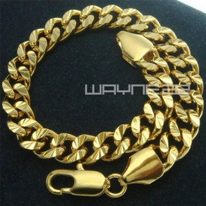 18k amarelo ouro Cheio de diamantes borda freio sólida das senhoras dos homens pulseira B150