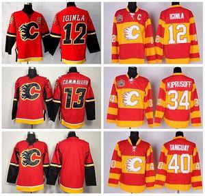 2016 New, Calgary Flames Jersey Hockey su ghiaccio 12 Jarome Iginla 13 Michael Cammalleri 34 Miikka Kiprusoff 40 Alex Tanguay Throwback Jersey