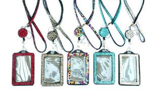 Rhinestone Bling Lanyard Crystal Diamond collar correa para el cuello con forro de identificación con forro de identificación horizontal y llavero para identificación / tecla / teléfono celular