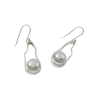 Pendientes colgantes de perlas de agua dulce para E995 Pendientes artesanales de araña vintage Color blanco 925 Pendientes de plata en línea