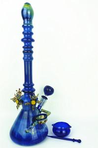De luxe Beau grand verre Pipes à eau colorées grand bleu coloré fait main dab rig huile bang capiteux pipe zob hitman bécher coloré
