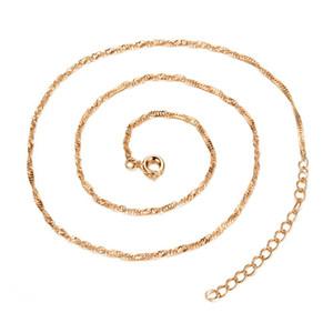 42см Стильное Женское Ожерелье Цепи с 5см Расширение Цепи Water-Wave Цепи Ожерелье Ювелирные Аксессуары
