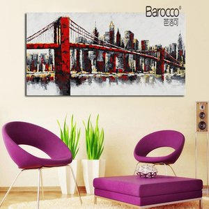 Cityscape 100% Hand Painted Abstract Scenery Oil Painting on Canvas Modern Home Wall Art Decoration No Framed