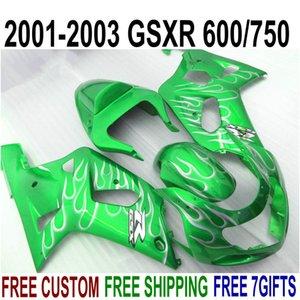 Carene in ABS per SUZUKI GSX-R600 GSX-R750 2001-2003 fiamme bianche K1 in carenatura verde GSXR600 / 750 01 02 03 SK16