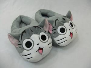 """1 par libre del envío 11"""" Sweet Home gato encantador felpa zapatos de 28cm de Chi zapatillas de interior blando de invierno para el adulto"""