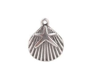 50 PCS moda antiqued prata metal starfish shell encantos # 92241