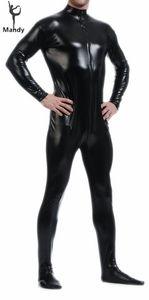Toptan-Yetişkin Siyah Lateks Parlak Balıkçı Yaka Uzun Kollu Metalik Erkekler Catsuit Womens Cilt-Sıkı Unitard Lycra Bodysuit Zentai Hood Olmadan
