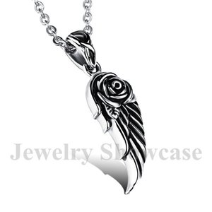 """Stylish Vintage Winged Rose Pendant Stainless Steel Necklace with Chain 20"""""""