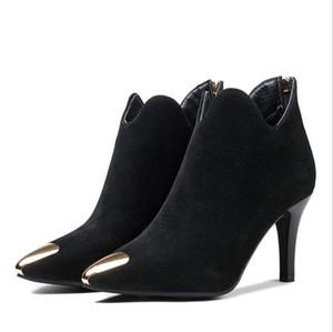 2017 femmes bottes d'hiver en daim leathe point orteil fermeture à glissière sexy talon mince noir botte courte bottes matte chaussures femmes