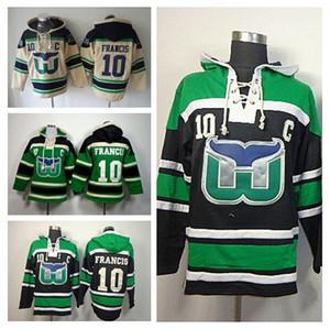Remise Hartford Whalers Pull à capuche Francis Sweat à capuche Ice Hockey 10 Ron Francis Pull à capuche Old Time pour homme Noir Beige