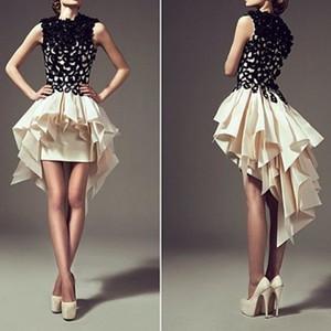 Ärmellose schwarze Cocktailkleider mit kurzen Ärmeln Prom A-Linie Cocktailkleid 2018 Homecoming Queen Dress Gowns