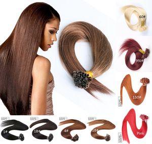 Topo da classe 9A - Virgin Cabelo Humano U Tip no Cabelo extensões de cor diferente do cabelo extensões Atacado Remy do indiano