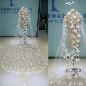 Melhor Venda Real Imagem Borboleta Véus De Noiva Branco Sheer Tulle Uma Camada Longa Véu Com Véu Livre Do Casamento Do Pente