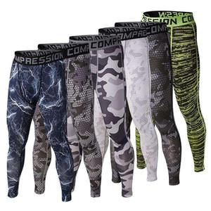 Toptan-Erkek Koşu Kamuflaj Baz Katman Spor Koşu Sıkıştırma Spor Tayt Uzun Pantolon Tayt