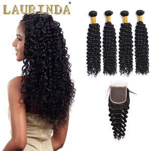 Haarbündel mit Top Closure Buy 4 Haareinschlagfäden erhalten freie 1pc lockige Welle Lace Front Closure malaysische tiefe lockige menschliche Haarwebart