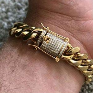 Whosales_Cool رجل سلسلة الذهب لهجة الفولاذ المقاوم للصدأ 14MM 8inch سوار كبح الكوبي ربط سلسلة مع قفل الماس قفل الهيب هوب أساور