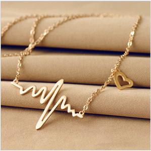 ECG Charme Collier électrocardiogramme amour coeur pendentifs rythme cardiaque coeur rythme 18 K Or Plaque ECG Bijoux Colliers Pour Femmes