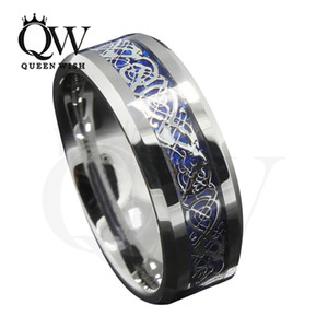 Mens Celtic Wedding Ring 8mm Bandes De Mariage En Carbure De Tungstène Fond Bleu Argent Celtic Dragon Inlay Bandes De Mariage En Argent De Mode Bijoux