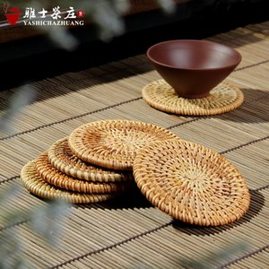 Kung Fu tea ceremony accessories hand-made rattan round tea cup mat natural environment mat bowls mat insulation