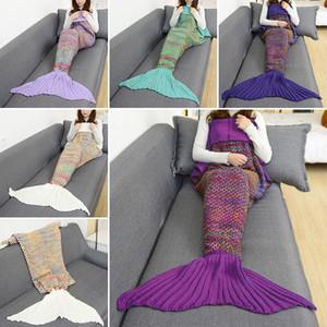 180 * 90 cm Renkli Izgara Mermaid Battaniye Mermaid Kuyruk Örme Battaniye Kanepe Yorgan Halı Uyku Çuval Örgü battaniye 5 Renk Ücretsiz gemi WX9-146