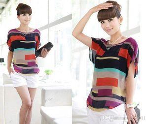 Kadın bluz gömlek Şerit Gevşek Kısa Kollu Şifon casual bluz camisa feminina feminino blusas artı boyutu 01JS660
