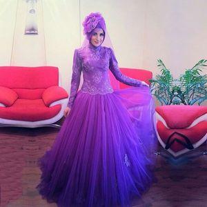 Mor Müslüman Abiye Abaya Dubai Balo Elbise Yüksek Boyun Uzun Kollu Aplike Ile Türk İslam Giyim Vestidos 2016