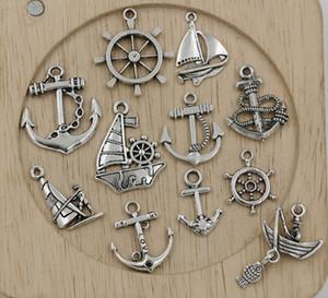 ¡Venta caliente! 110 piezas de plata tibetana de navegación mixta, ancla, timón colgante, joyería DIY 11 - estilo (350)
