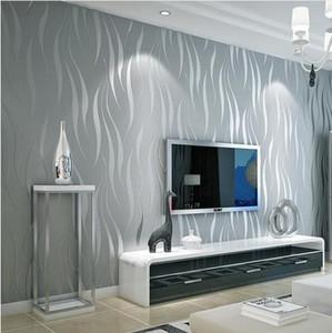 No tejida fondo de escritorio del papel pintado rollo simple moderna de estilo de superficie de papel de pared a rayas no tejido 3D Papel de parede 0.53m * 10m