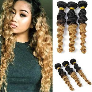Ombre Brazilian Malaysian Indian Peruvian Loose Wave Bundles 8A Virgin Human Hair 3 Bundles 1b / 27 Marrón a rubio Extensiones de cabello humano Trama