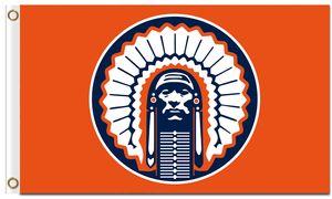 Vendita calda 3x5ft Illinois Fighting Illini Chief Flag 100% poliestere Stampa digitale Bandiere personalizzate e striscioni