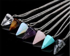 Natürliche Edelstein Anhänger Halskette Kristall Heilung Chakra Reiki Silber Stein Hexagonal Prisme Kegel Pendel Charme Halsketten R071