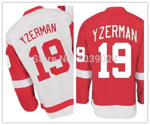 2014 Yeni Stil # 19 Steve Yzerman Jersey Kırmızı En İyi Kalite Yzerman Beyaz Formalar Toptan Fiyat Ücretsiz Kargo