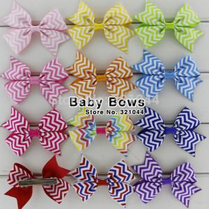 Babymatch 60 teile / los 3,2 zoll Chevron Gedruckt Bögen Mit Clip Grosgrainband Haarbögen Haarnadeln Haarspange Zubehör