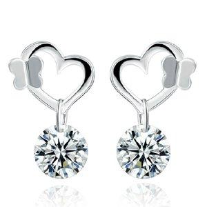 925 ayar gümüş takı aşk kalp elmas küpe charm charms etnik vintage noble küpe yeni varış
