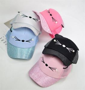Niños Lovely Hats New Kids Cat Gorra de béisbol con lindos orejas de gato Curved Brim Snapback Hat Cat Face Gorras de perlas al aire libre Gorras